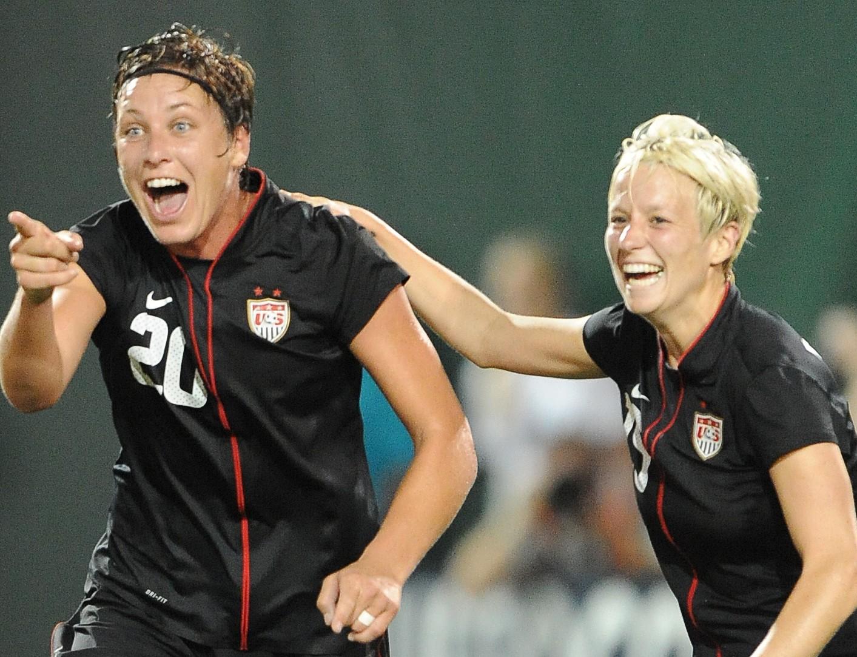 Abby Wambach celebrates her second goal in a 3-0 win over Canada on Thursday in Portland, Ore. (Photo Credit: Patricia Giobetti/http://www.printroom.com/pro/psgiobetti)
