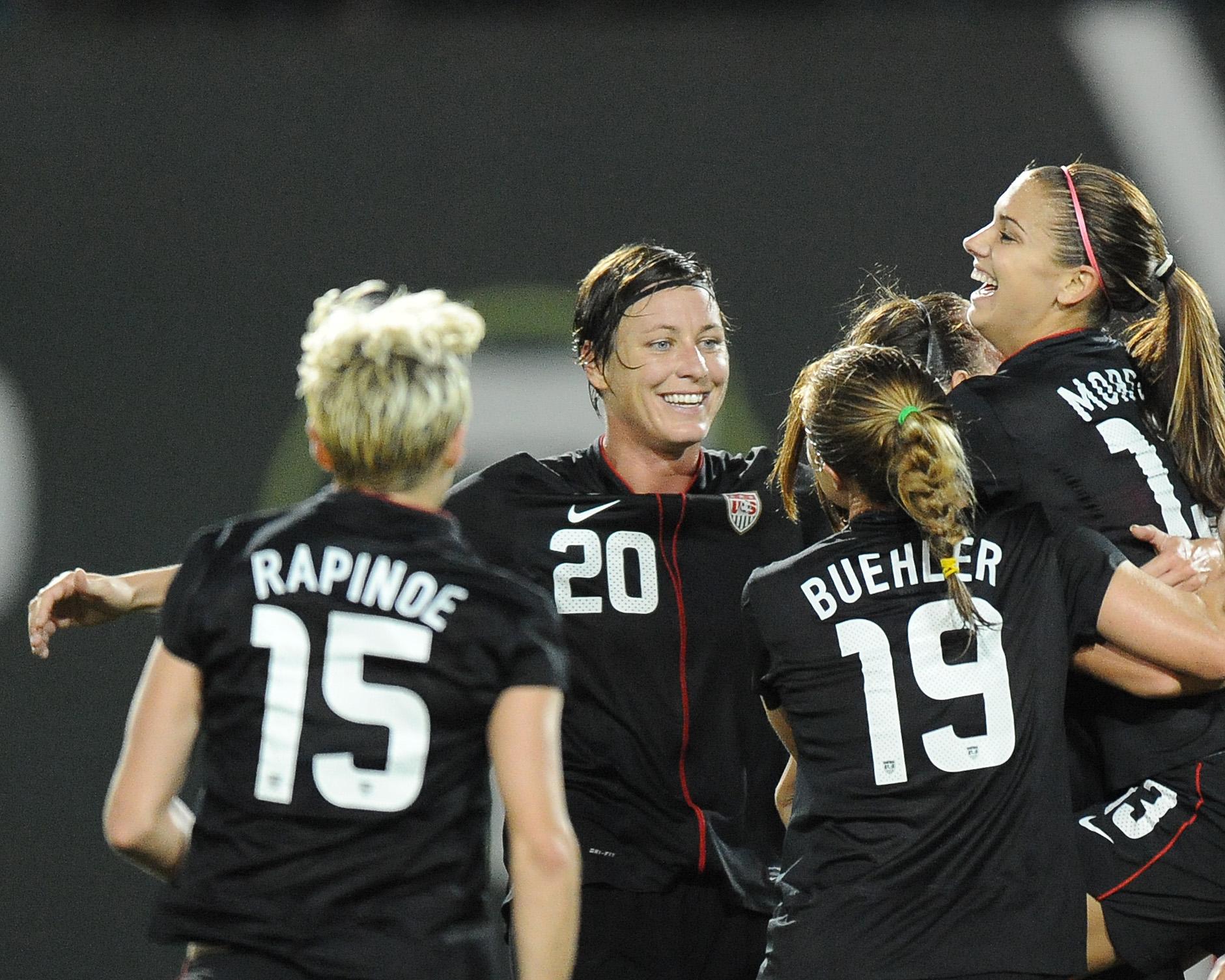 Abby Wambach celebrates her first goal in a 3-0 win over Canada on Thursday. (Photo Credit: Patricia Giobetti/http://www.printroom.com/pro/psgiobetti)