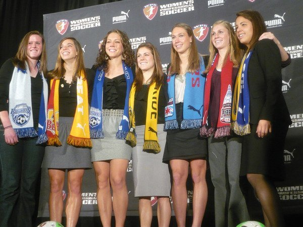 The 2010 WPS draft was loaded with talent from the first pick Tobin Heath (above, 2nd from left) to the last pick Taryn Hemmings.