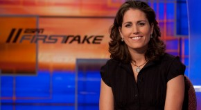 Julie Foudy kicks up her feet with Mia and Alex