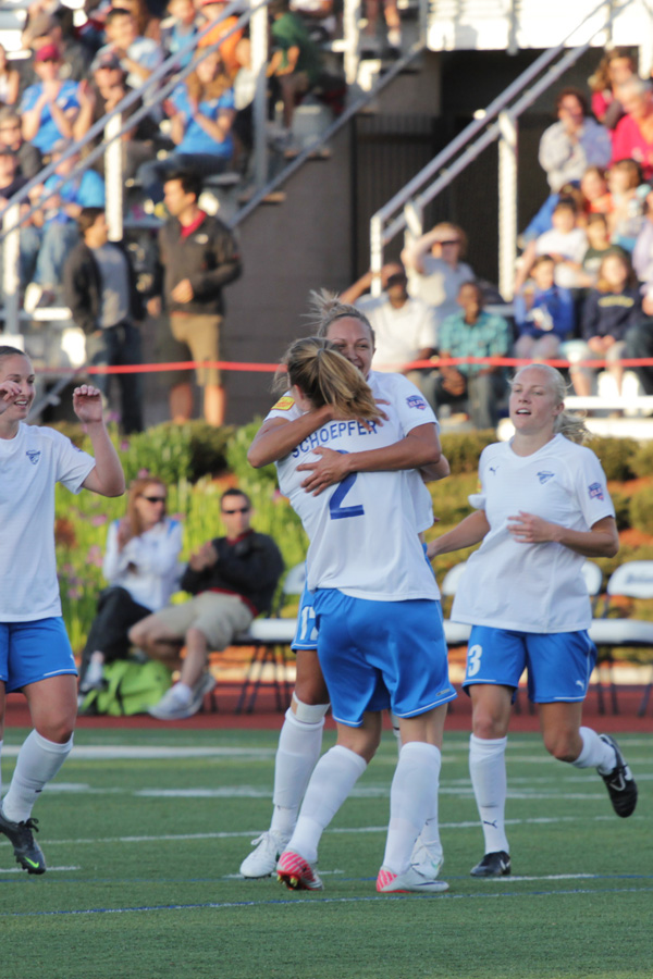 The Breakers celebrate one of their four goals from Friday's 4-1 win over FC Indiana. (Photo Copyright: Meg Linehan)