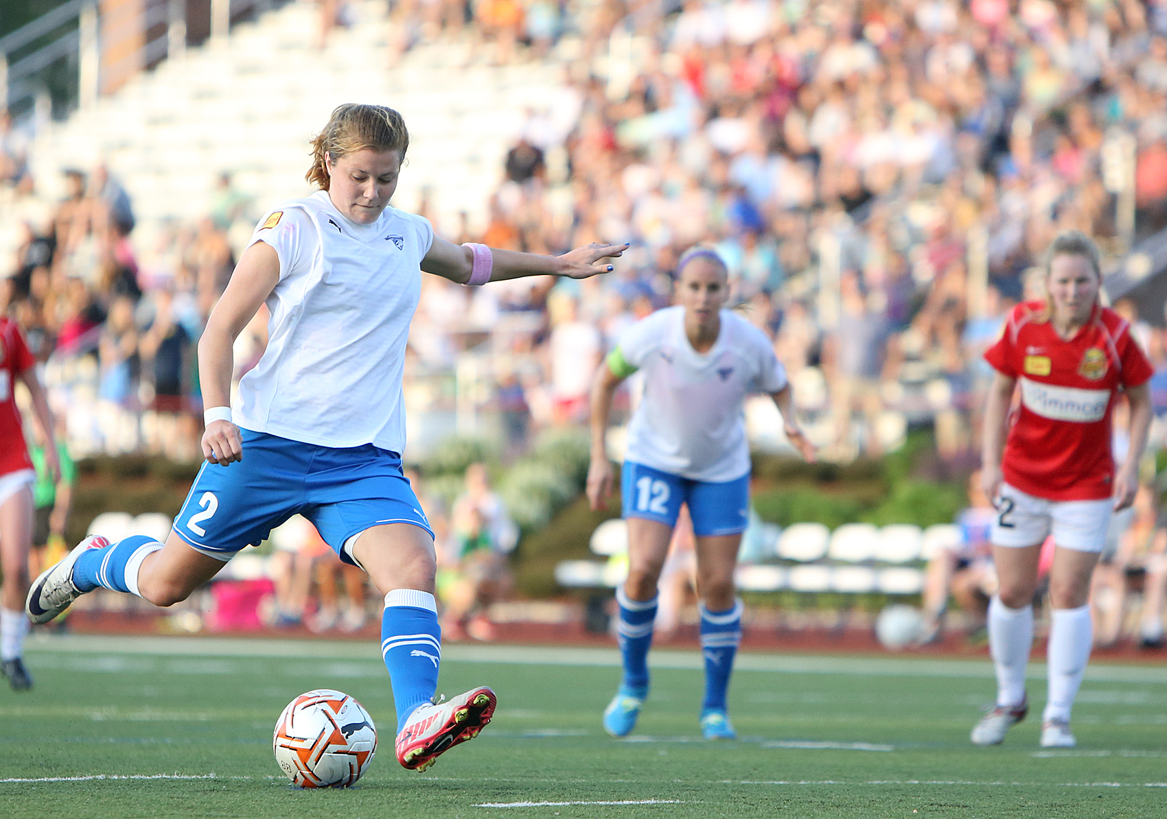 Katie Schoepfer of the Boston Breakers is having a breakout season with seven goals in 13 matches. (Photo Credit: Mark Gardner)