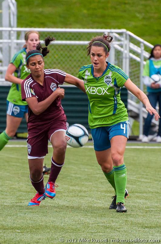 Katie Deines of Seattle Sounders Women, Samhia Simao of Colorado Rapids Women