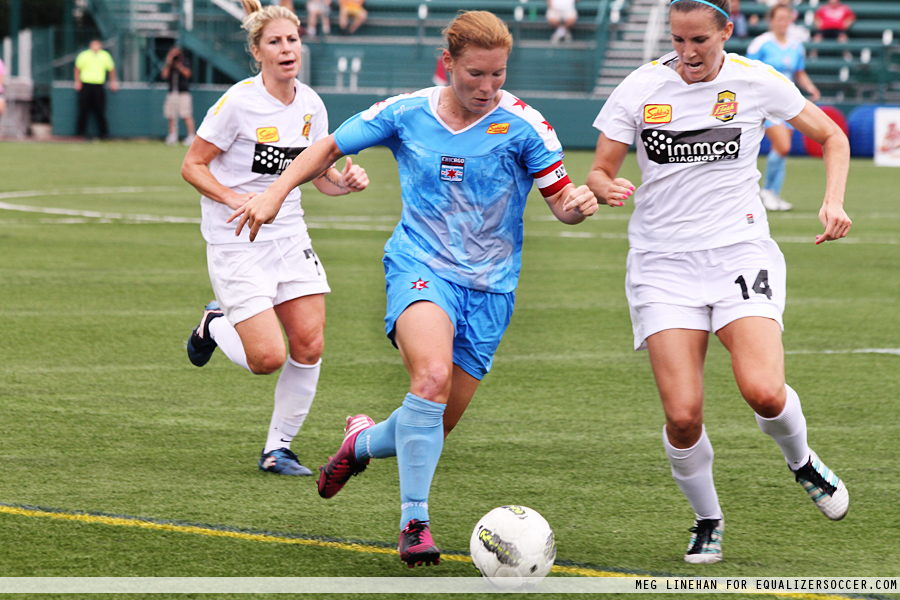 Chicago Red Stars' captain Lori Chalupny (C) in Saturday's WPSL Elite championship against the Western New York Flash. The Flash won on penalties to win a third-straight title in a third-straight different league. (Photo credit: Meg Linehan)