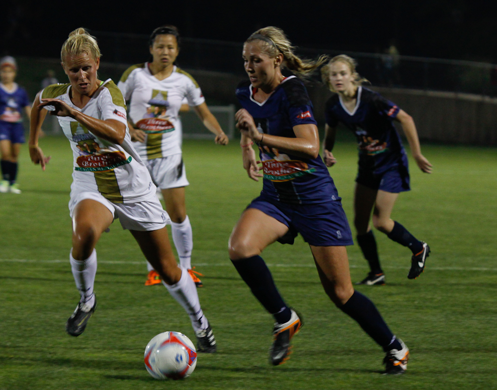 Alli Long (pictured right, from last year) scored to help lift Portland Thorns FC to a 2-1 preseason win over the University of Portland. (Photo courtesy Ken L. Harriford)