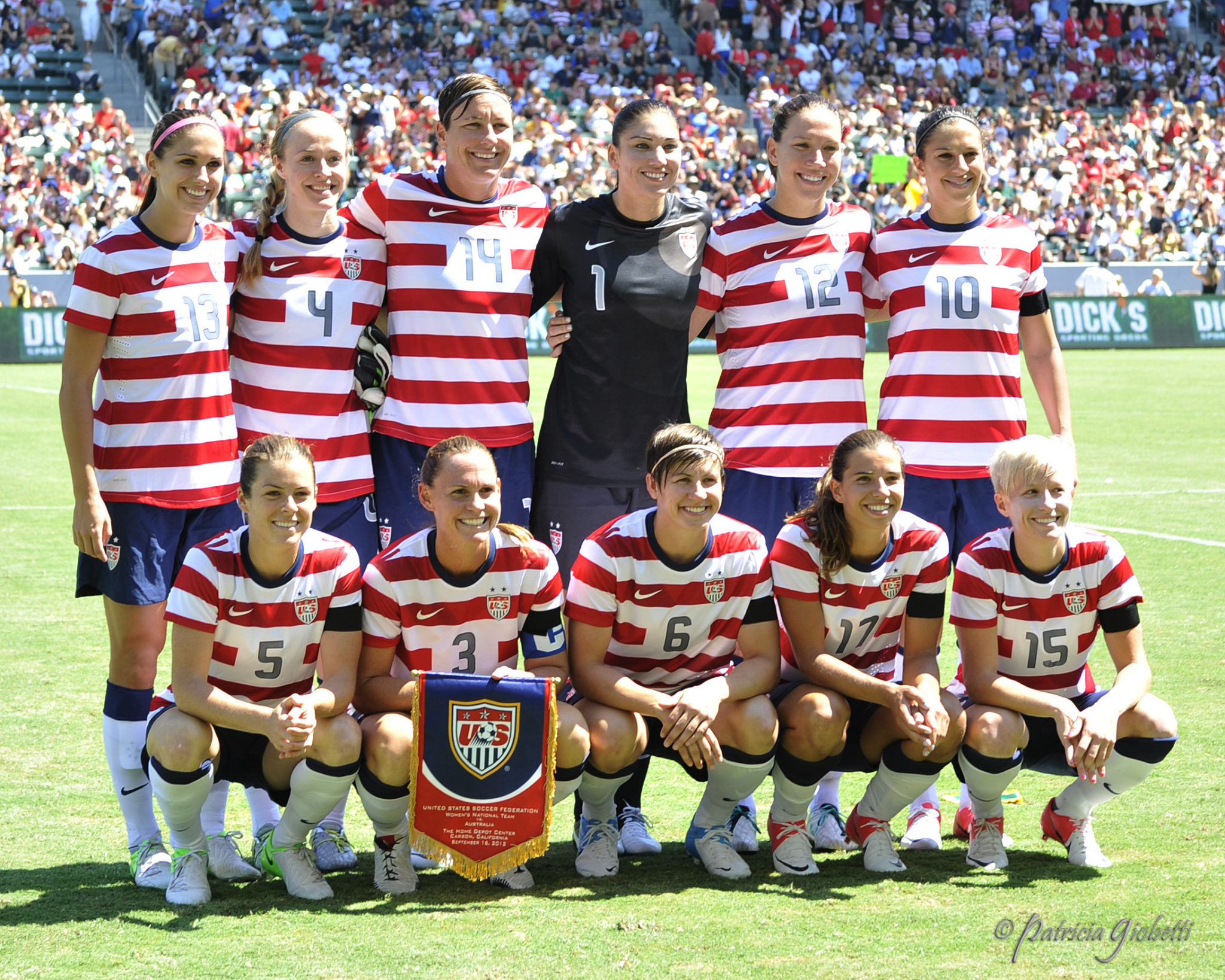 The U.S. starters before a 2-1 win over Australia on Sept. 16, 2012. (Copyright Patricia Giobetti | http://www.printroom.com/pro/psgiobetti)