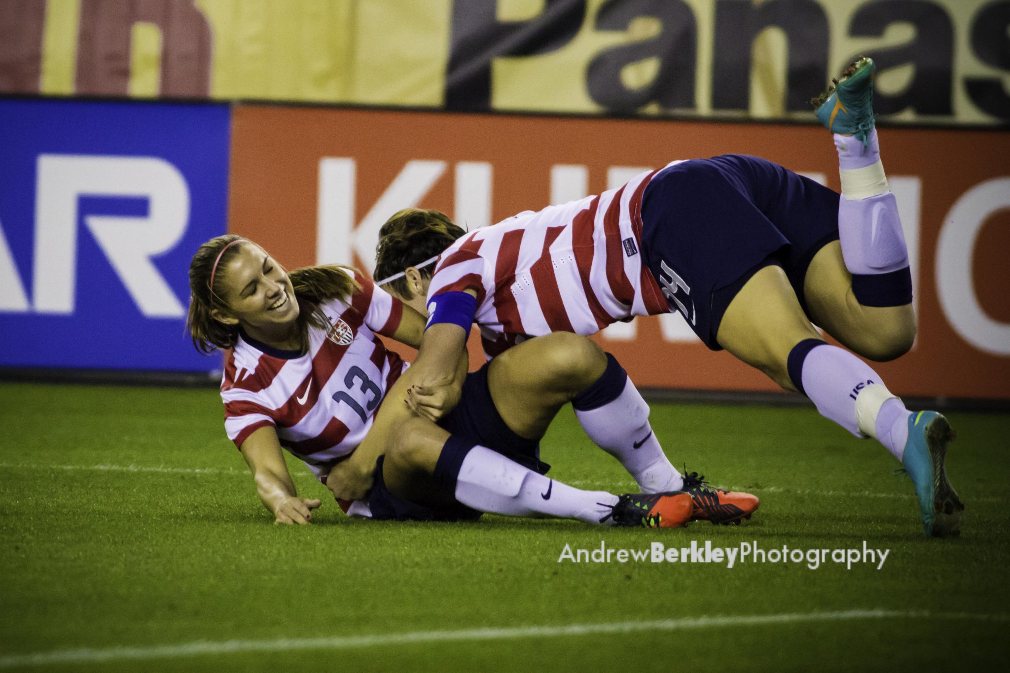 Alex Morgan (right) and Abby Wambach celebrate Morgan's 1st minute goal on Saturday. (Photo copyright Andrew Berkley for EqualizerSoccer.com)