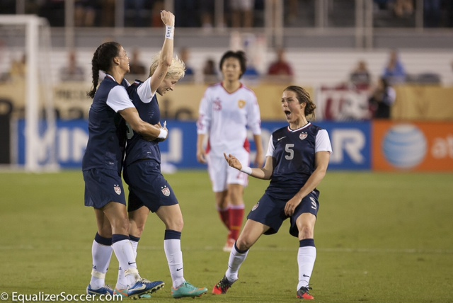 Megan Rapinoe (center, arm in air) is one of the 23 USWNT players being allocated to the NWSL, even thought she'll play the first half of the year with Lyon in France. (Photo Copyright Steve Bruno for EqualizerSoccer.com)