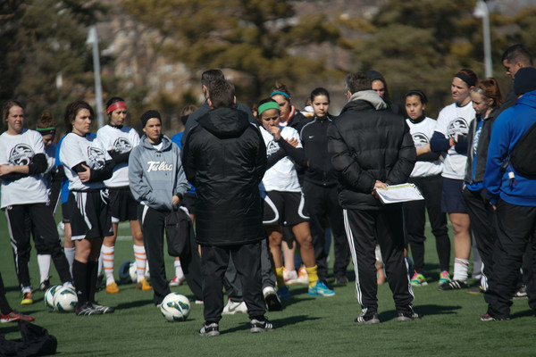 The FC Kansas City coaching staff speaks to a group of over 65 open tryout attendees. (Photo Copyright: Thad Bell    http://www.tpbphoto.com/)