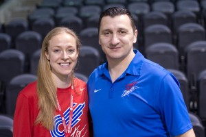 Vlatko Andonovski (right) and Becky Sauerbrunn. (Photo Copyright: Thad Bell | http://www.tpbphoto.com/)