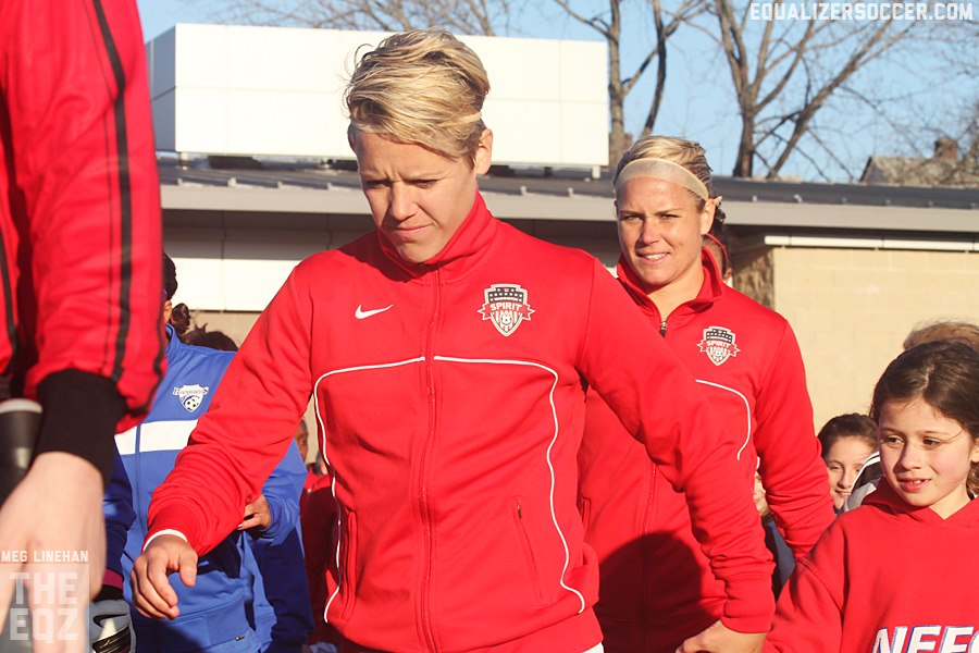 Lori Lindsey (foreground) captained the Spirit in 2013.  Now she is exposed to the Dash for Friday's Expansion Draft. (Photo Copyright: Meg Linehan for The Equalizer)
