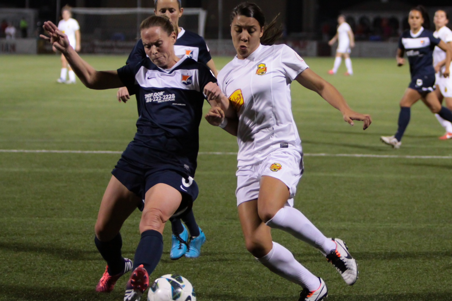Sam Kerr (right) is now a member of Sky Blue FC. (Photo courtesy Mark Novak/WNY Flash)