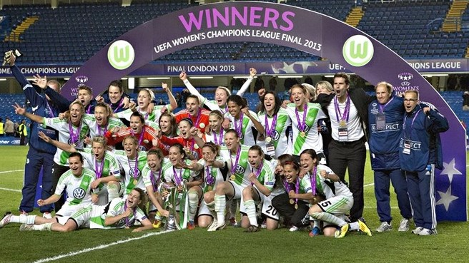VfL Wolfsburg defeated Lyon in the 2013 UEFA Women's Champions League final. The two clubs meet again on May 26 in this year's final. (Photo copyright Domenic Aquilina)