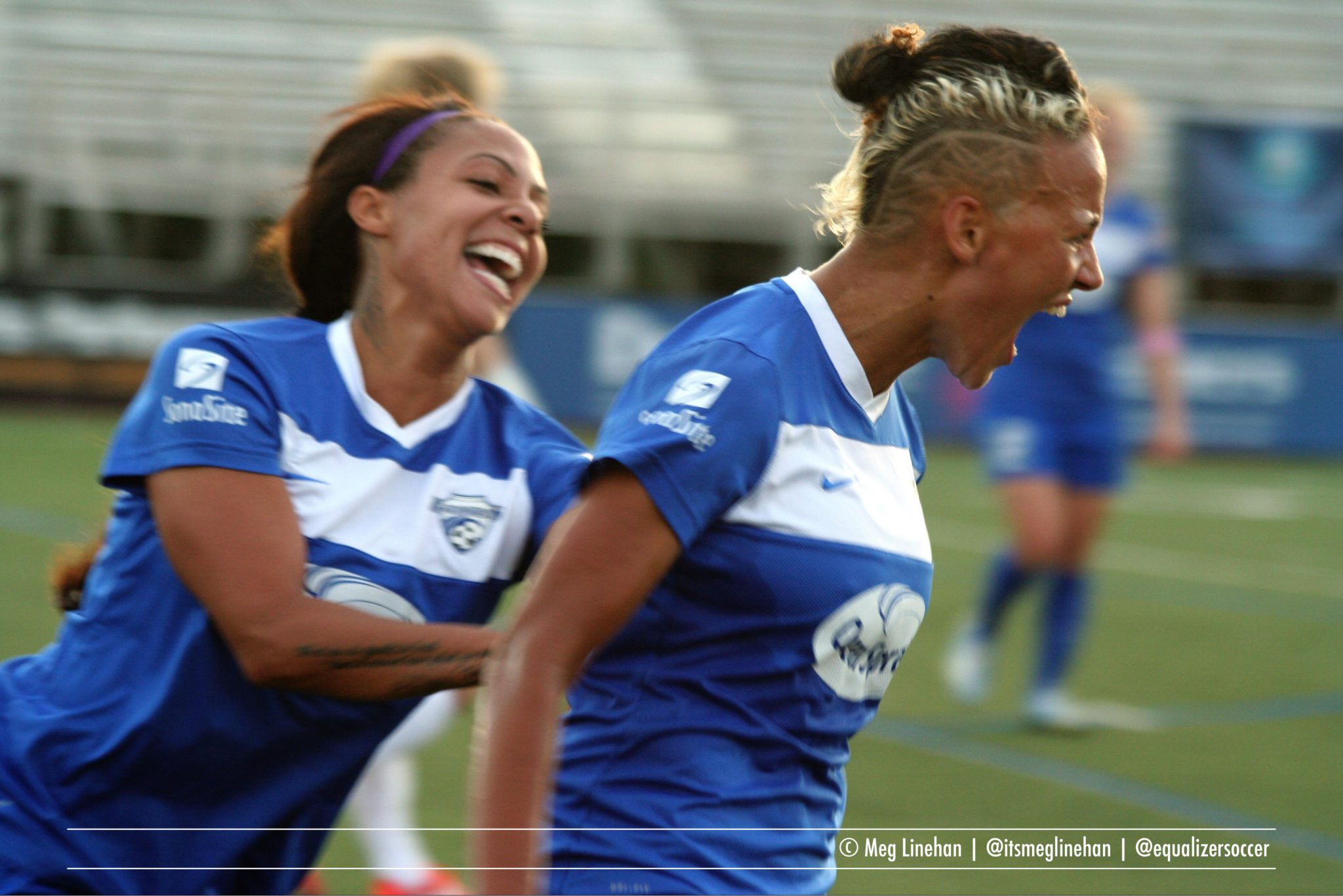 Sydney Leroux (left) is now NWSL co-leader in goals with eight. (Photo copyright Meg Linehan for The Equalizer)