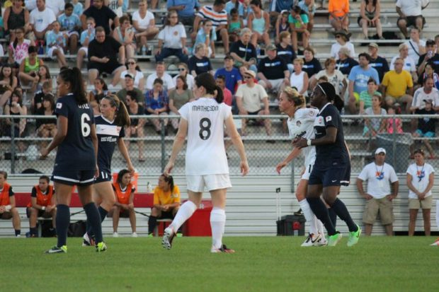 Saturday's crowd at Yurcak Field -- in steaming heat -- was an average one for Sky Blue FC. (Photo Copyright Amanda McCormick | www.amandamccormick8.com)