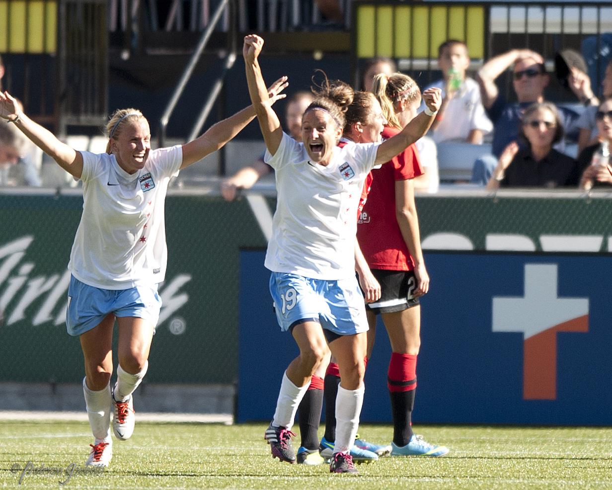 Julianne Sitch celebrates her 86th minute equalizer for the Red Stars. (Photo Copyright Patricia Giobetti | http://www.printroom.com/pro/psgiobetti)