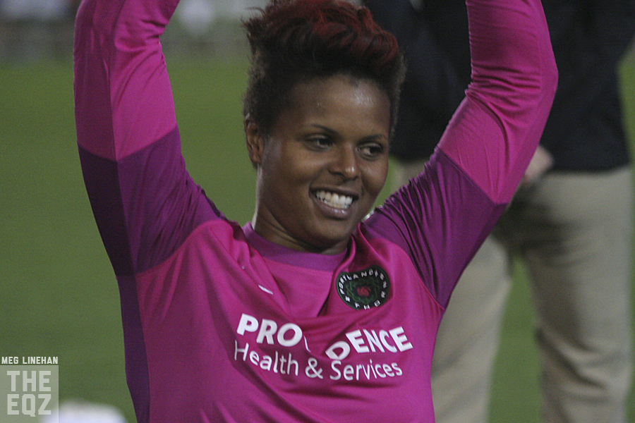 Karina LeBlanc was traded to the Red Stars in 2010 but never played for them.  Monday she was traded to Chicago again. (Photo Copyright Meg Linehan for The Equalizer)
