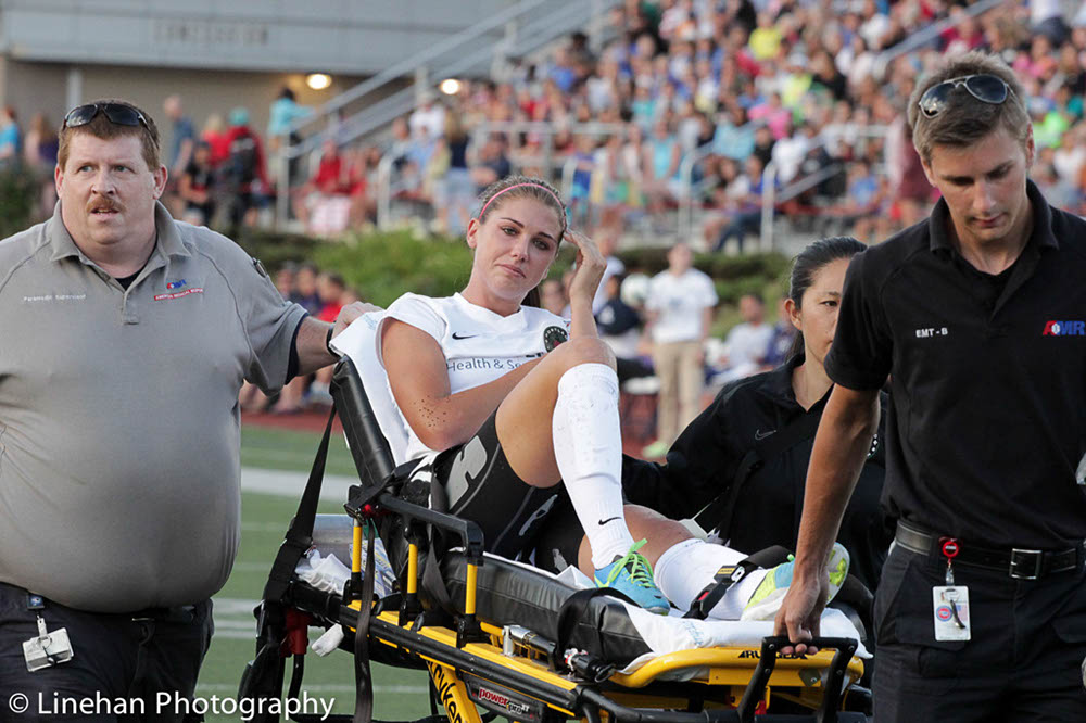 Alex Morgan hopes to recover in time from a left MCL sprain to play in an August 24 NWSL semifinal. (Photo Copyright Linehan Photography for The Equalizer)