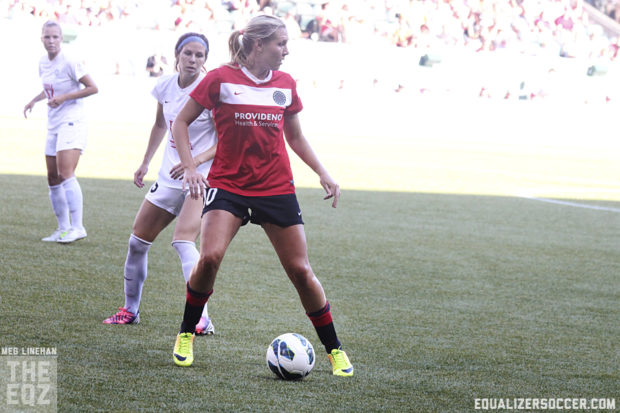 MVP finalist Allie Long has played a more advanced role since Amandine Henry arrived in Portland.  (Photo copyright Meg Linehan for The Equalizer)