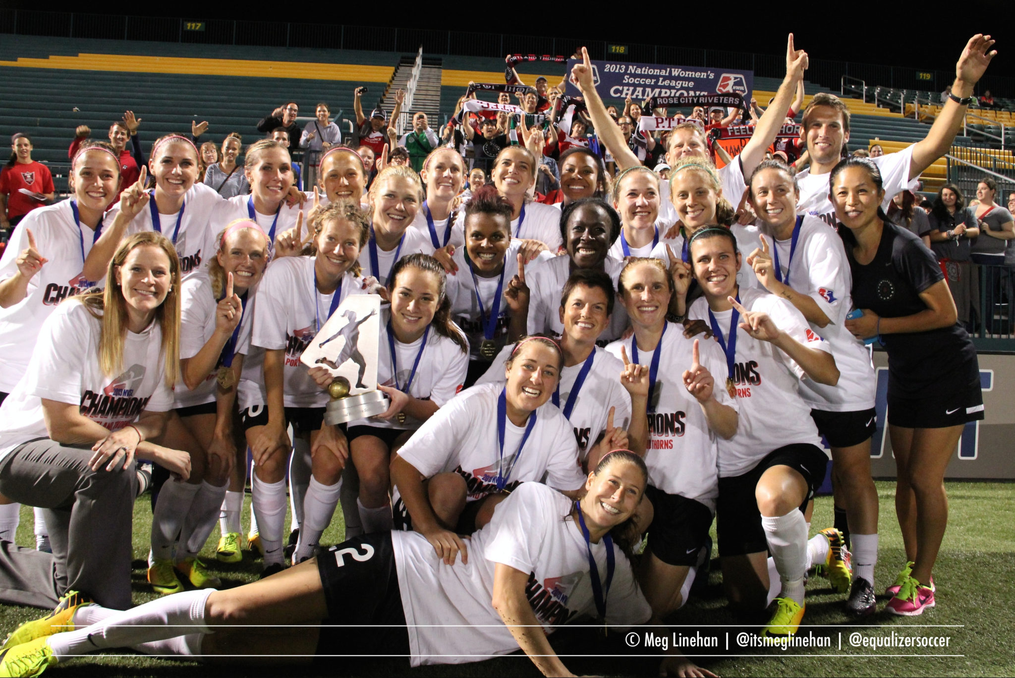 Portland Thorns FC celebrate the 2013 NWSL Championship. (Photo Copyright Meg Linehan for The Equalizer)