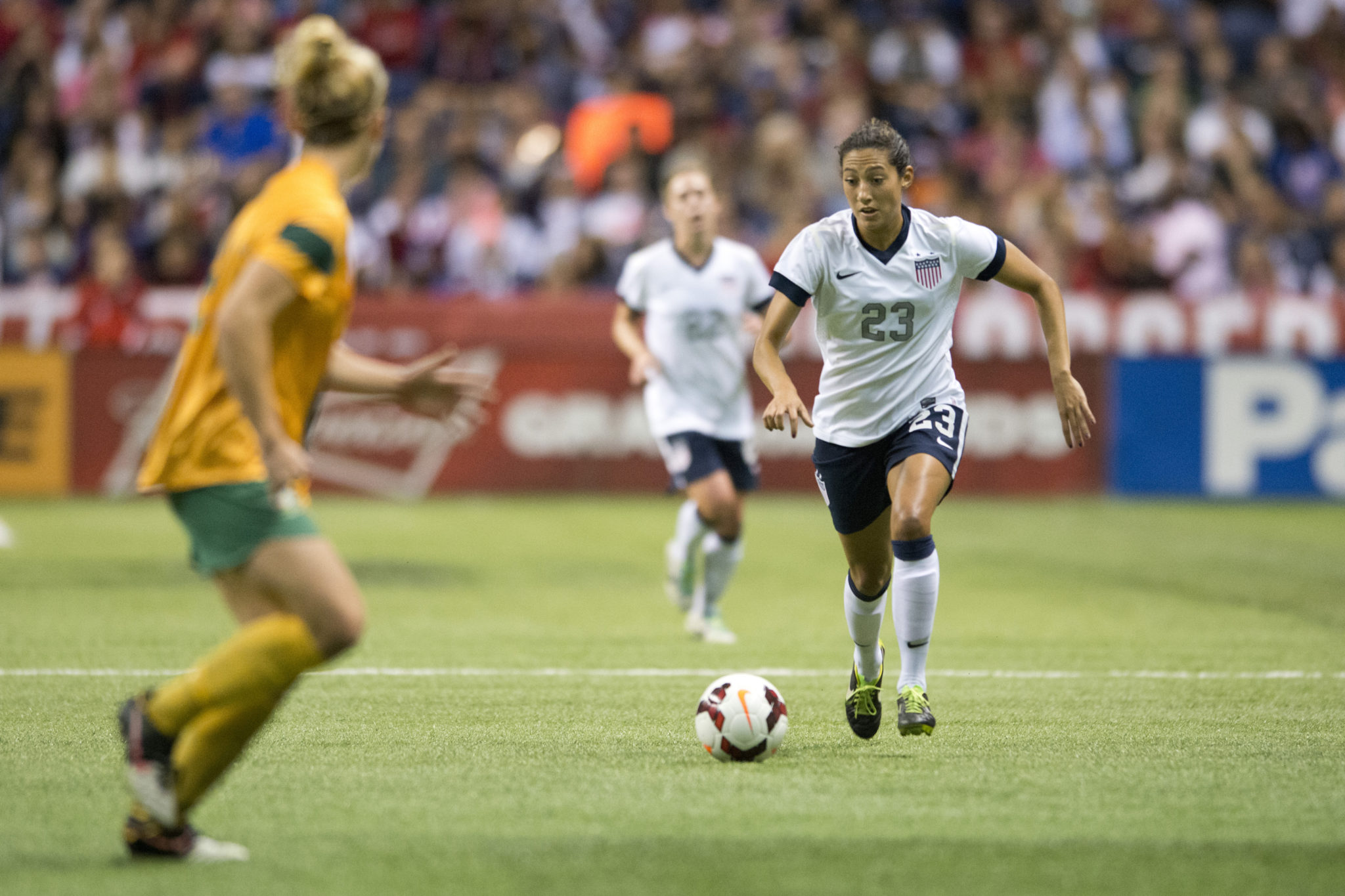 Christen Press says she may find her way to the NWSL sometime next year. (Getty Images)