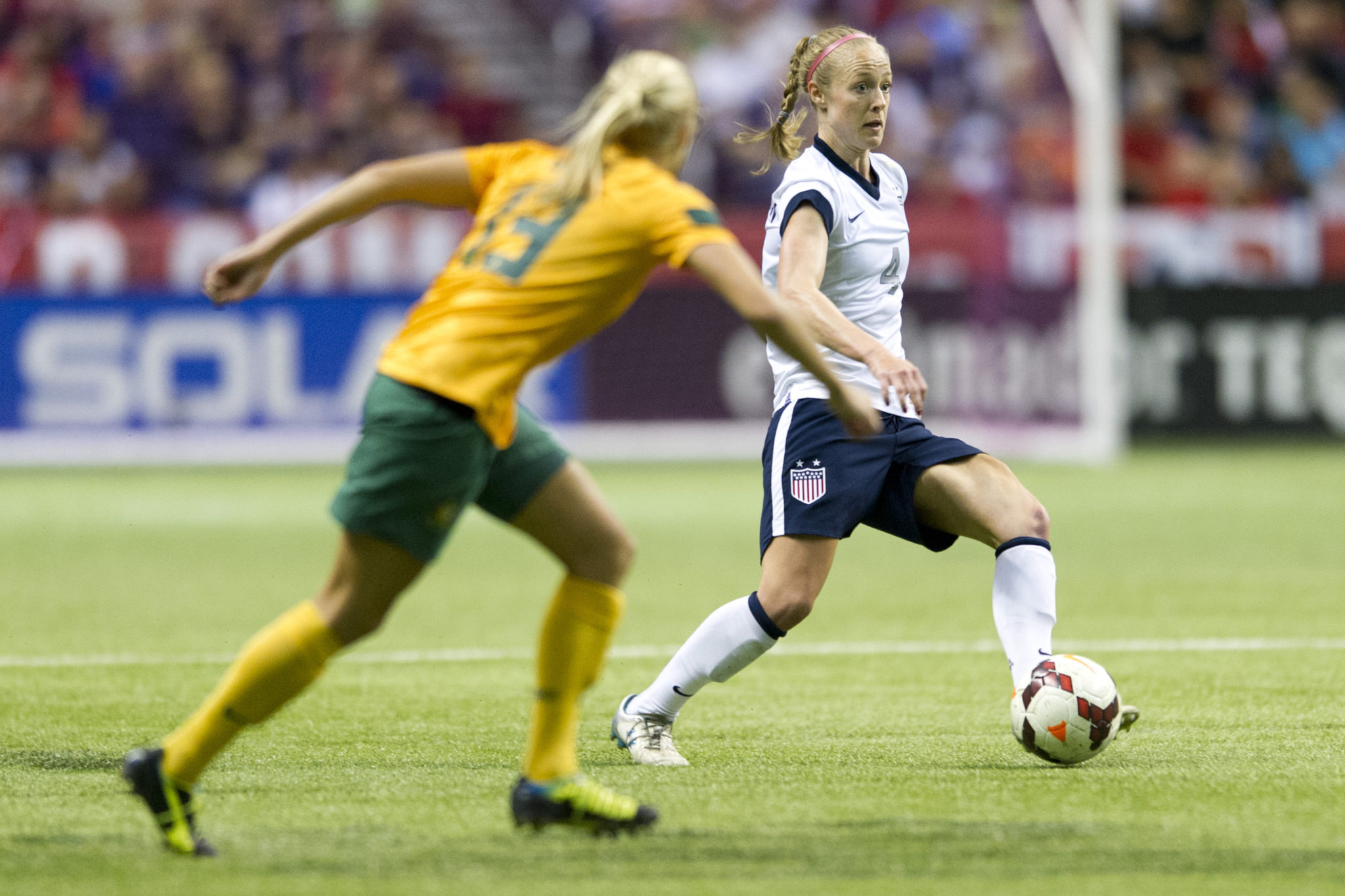 Becky Sauerbrunn anchored a young U.S. defense on Sunday vs. Australia. (Getty Images)
