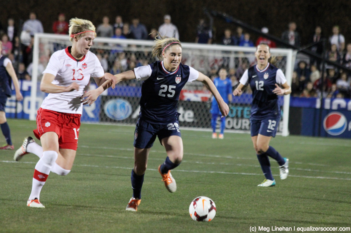 Morgan Brian, the 2013 MAC Hermann Trophy winner, stood out in her first start for the United States. (Photo Copyright Meg Linehan for The Equalizer)