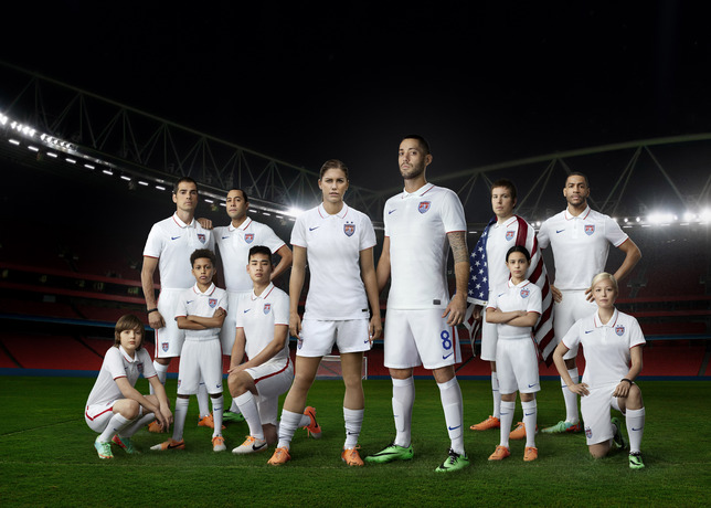 Alex Morgan and Clint Dempsey stand front and center to show off the    Usa Soccer Team 2014 Wallpaper