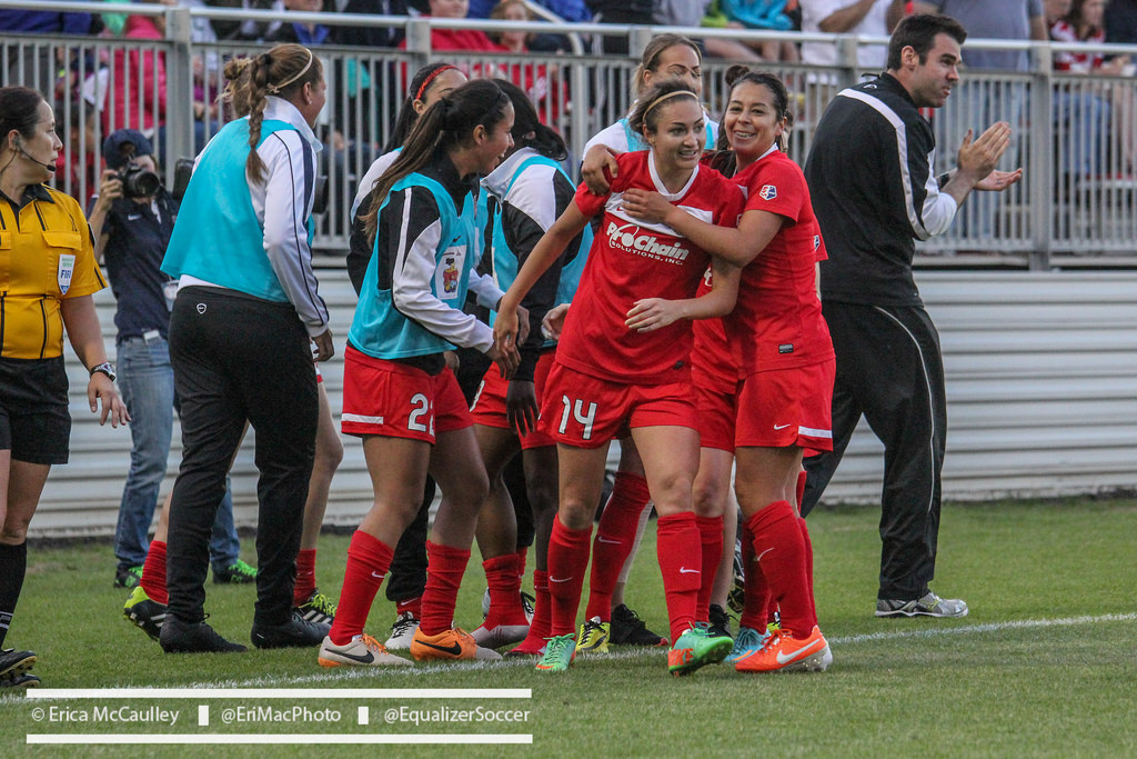 got the congratulations Saturday for the only goal in the Spirit's 1-0 victory over the Dash in Houston. (Photo Copyright Erica McCaulley for The Equalizer)