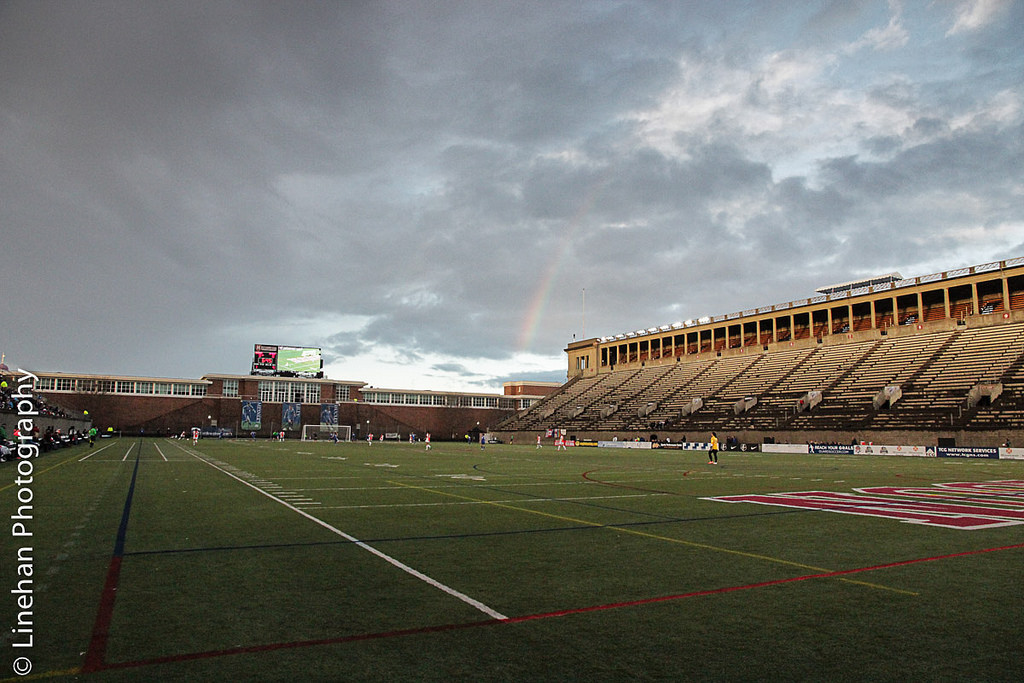 Harvard Stadium during an early season Breakers match, looking at the side opposite where fans sit. (Photo Copyright Clark Linehan for The Equalizer)