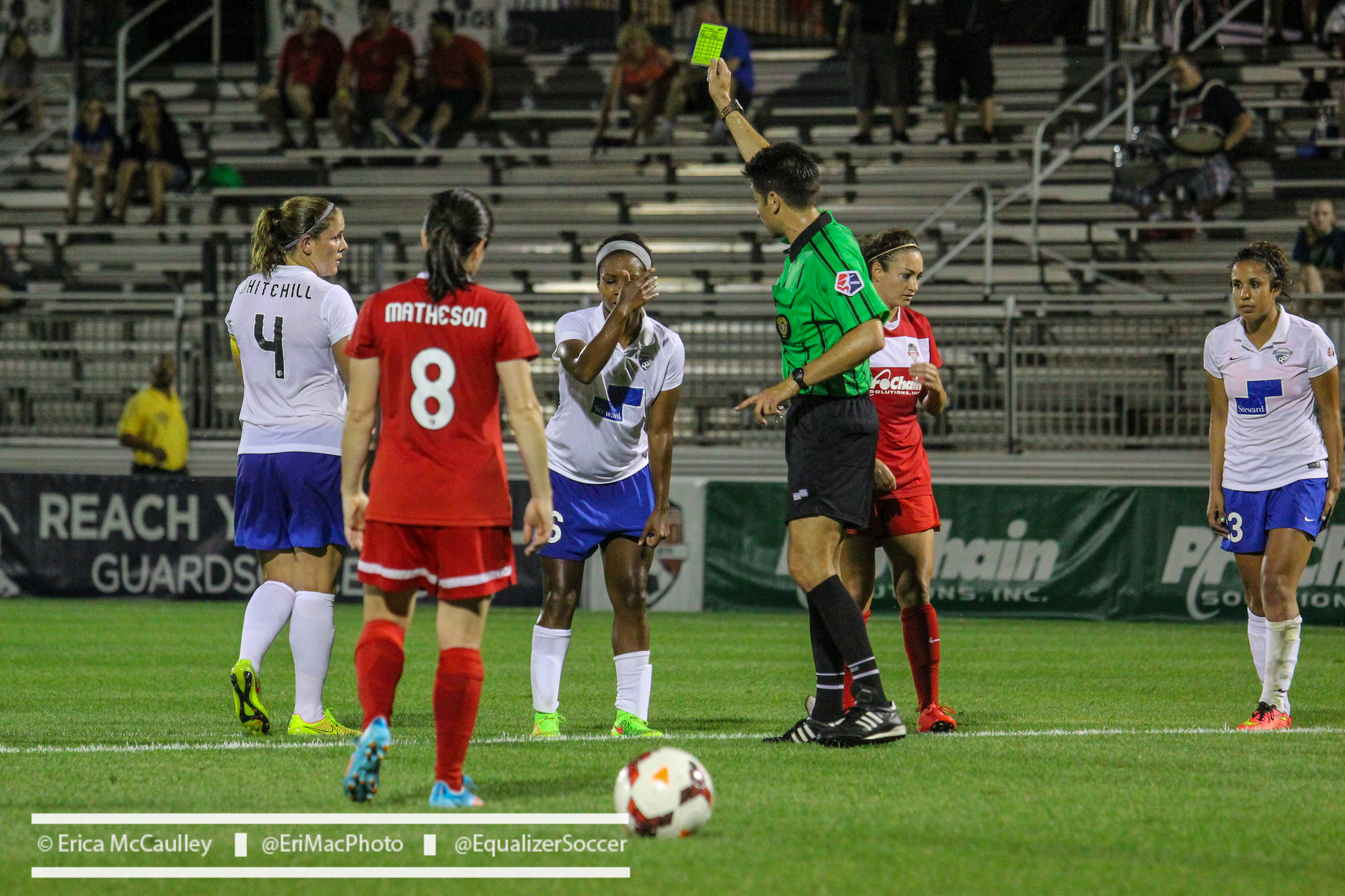 Three penalty kicks were issued in Wednesday's match between the Spirit and Breakers. (Photo Copyright Erica McCaulley for The Equalizer)