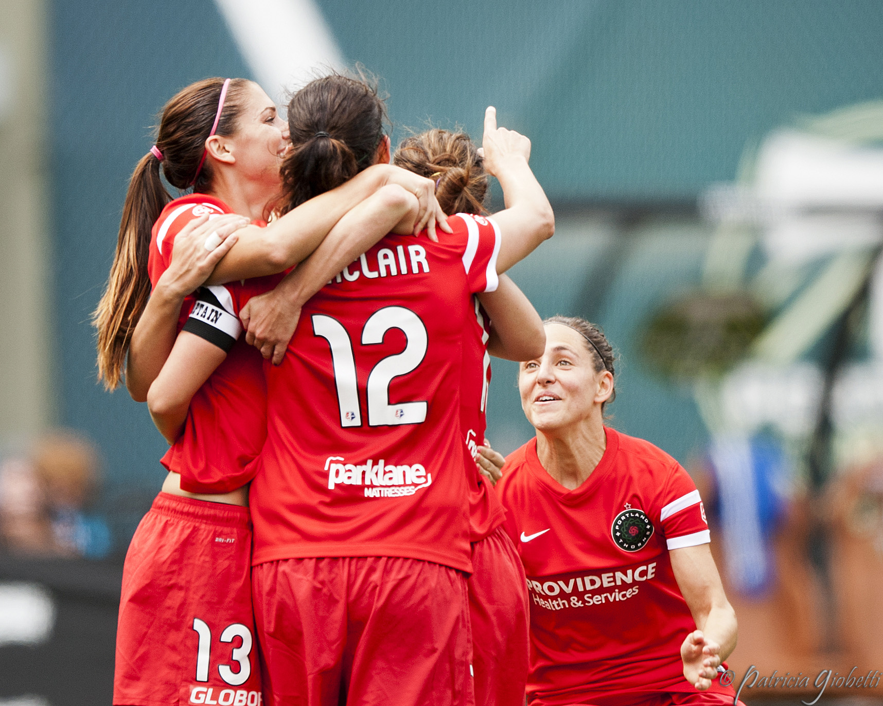 Alex Morgan, Christine Sinclair and Veronica Boquete are on the same page, and the Thorns are on fire. (Photo Copyright Patricia Giobetti for The Equalizer)