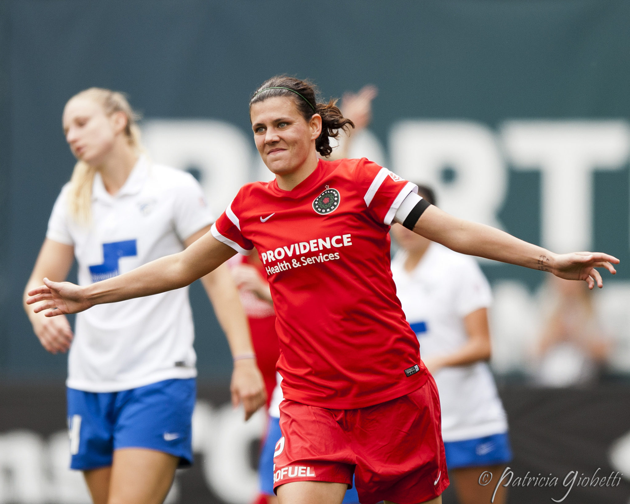 Christine Sinclair scored a hat trick on Sunday. (Photo Copyright Patti Giobetti for The Equalizer)