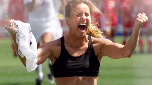 Brandi Chastain's celebration after scoring the winning PK in the 1999 World Cup final is one of the most iconic American sports images of all-time. (Getty Images)