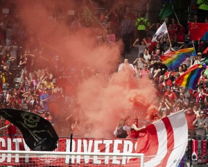 Portland Thorns fans at Sunday's match vs. Boston, when 14,383 fans showed up. (Photo Copyright Patricia Giobetti for The Equalizer)