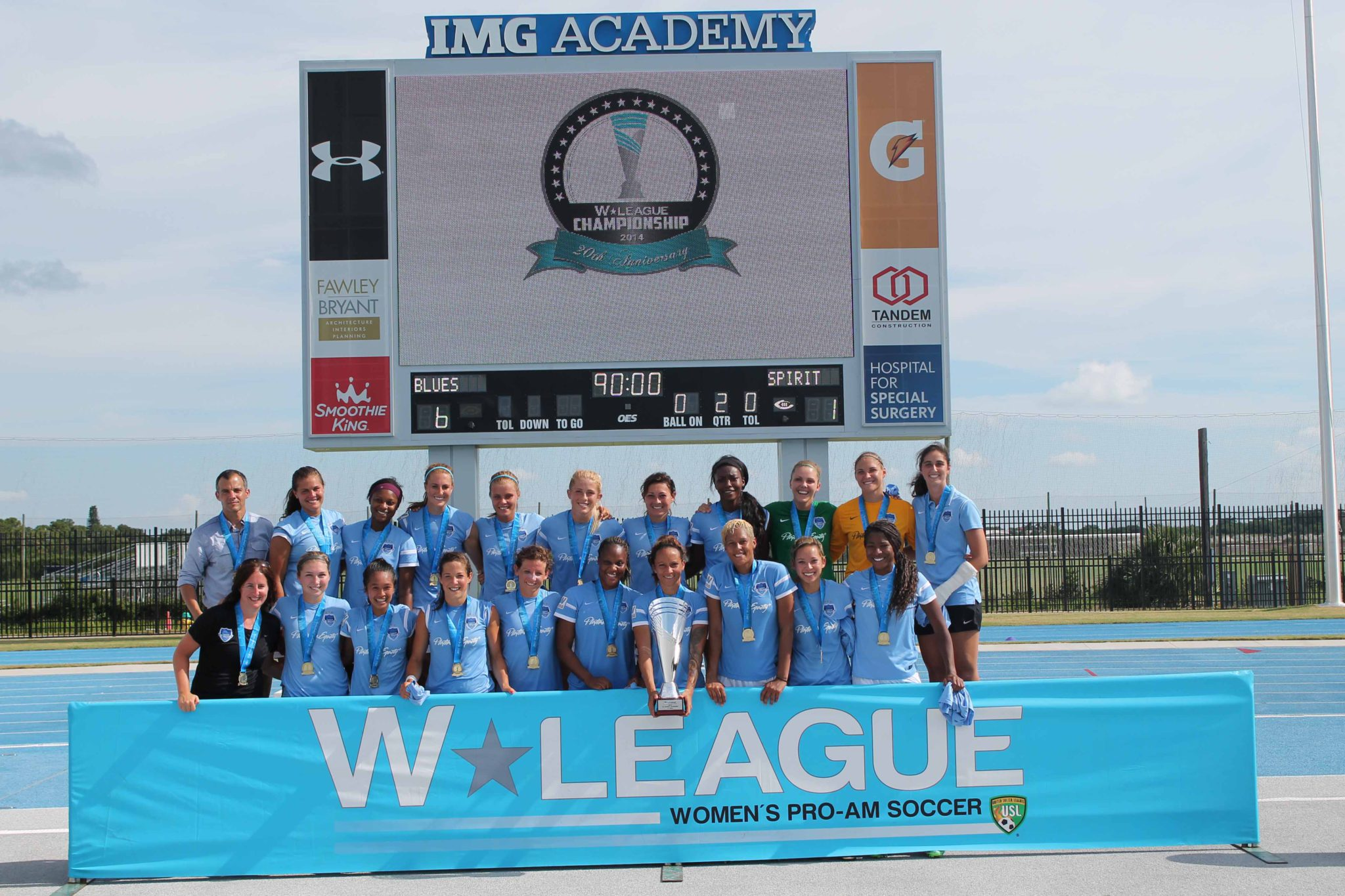 The LA Blues, pictured, folded after winning a fourth USL W-League title in 2014. Three other teams have folded in 2014. On Friday, the USL W-League announced it would cease operations. (Photo Courtesy USL W-League)