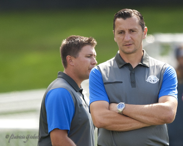 Vlatko Andonovski, right, is guiding FC Kansas City through something of a transitional season.  (Photo Copyright Patricia Giobetti for The Equalizer)