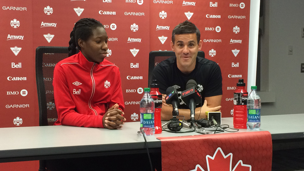Canada coach John Herdman and defender Kadeisha Buchanan. (Photo Copyright Harjeet Johal for The Equalizer)