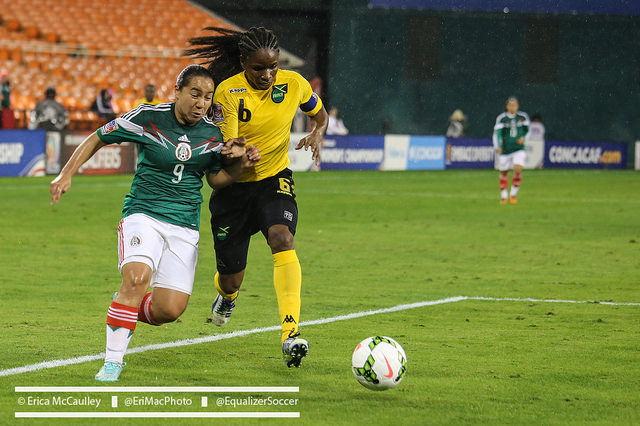 Jamaica (yellow) had Mexico on the ropes early in what could be a major stepping stone for the Reggae Girls. (Photo Copyright Erica McCaulley)