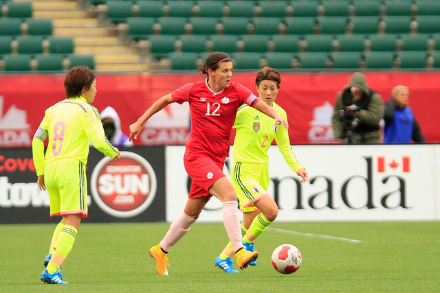 Christine Sinclair is Canada's main striker, but she has only one goal in 2014, and Canada needs more goal-scorers to step up. (Photo: Canada Soccer)