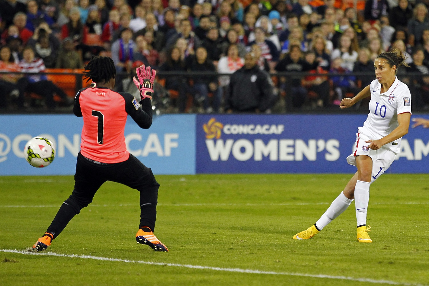 Carli Lloyd opened the scoring on Monday as the USWNT routed Haiti. (USA Today Images)