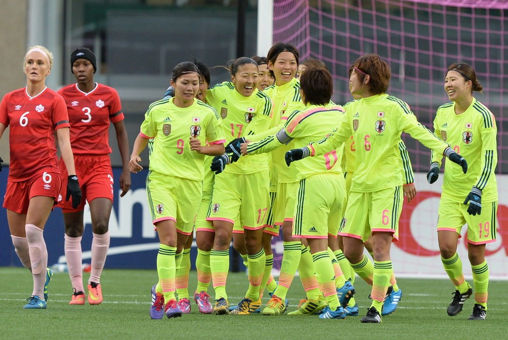 Japan celebrates its first of three goals in a dominant win over Canada. (USA Today Images)
