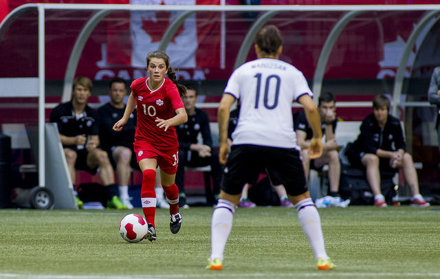Jessie Fleming scored the lone goal for Canada against Mexico on Thursday. (Photo: Canada Soccer)