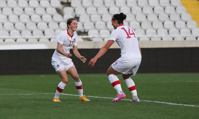 Jessie Fleming scored her first goal for Canada's senior team one week before her 17th birthday. (Photo Courtesy Canada Soccer)