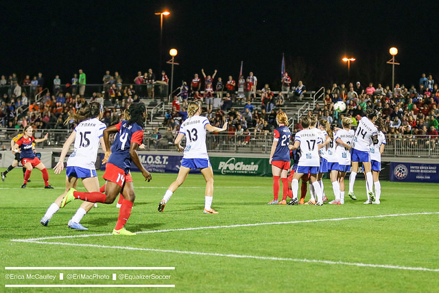 Christine Nairn scores a glorious free kick. (Photo Copyright Erica McCaulley for The Equalizer)