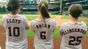Brian, Klingenberg, Lloyd throw Astros first pitch