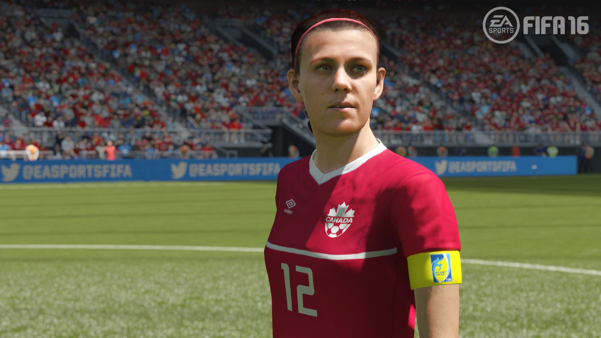 Christine Sinclair in FIFA 16. (Photo Courtesy EA Sports)