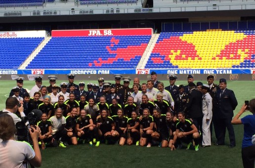 USWNT presented with dog tags by Armed Forces