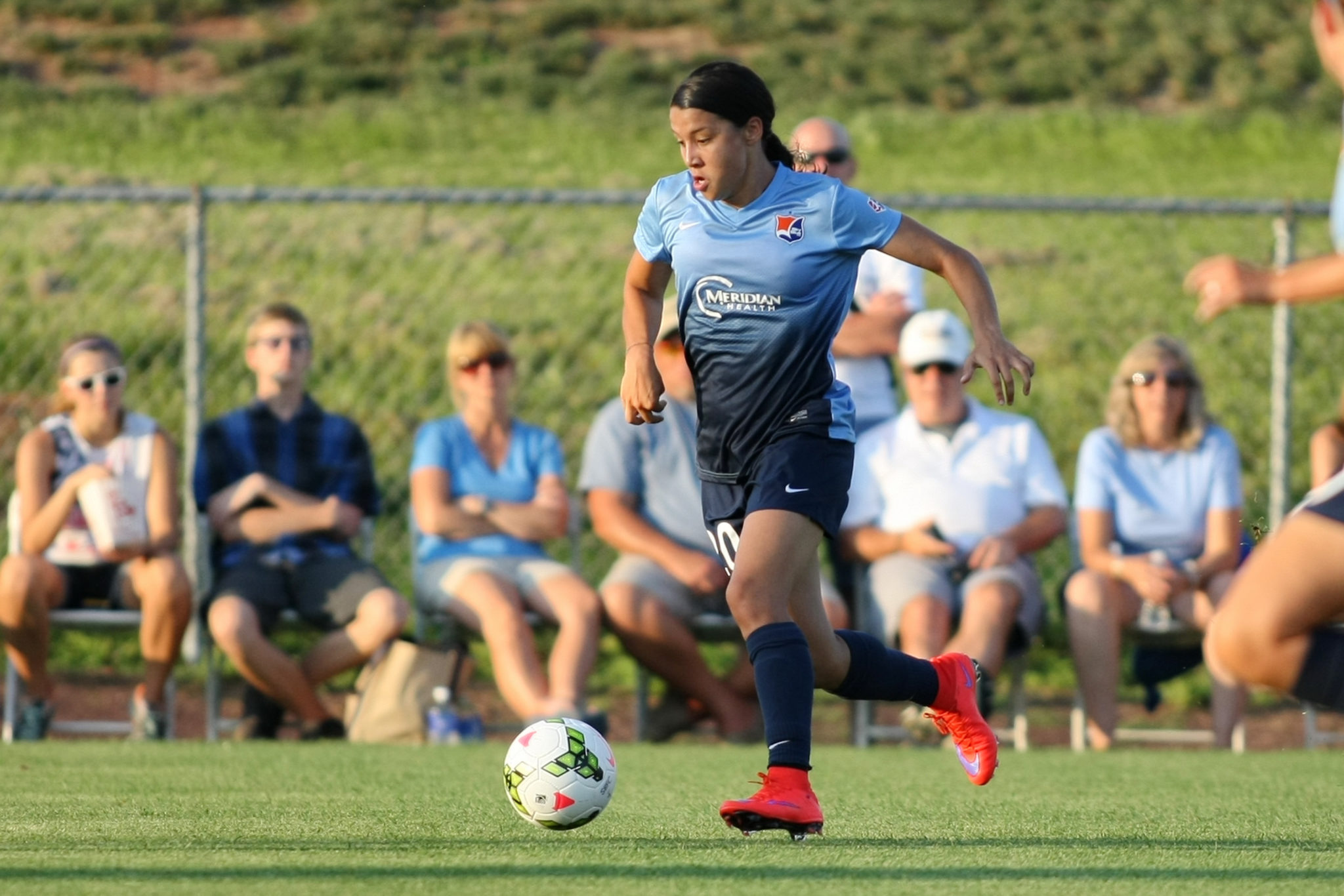 Sam Kerr scored a hat trick to give Sky Blue a much-needed win and set a new NWSL record.  (Photo Courtesy Sky Blue FC/Robyn McNeil)