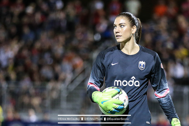 Hope Solo had surgery on her right shoulder on Tuesday. (Photo Copyright Erica McCaulley for The Equalizer)